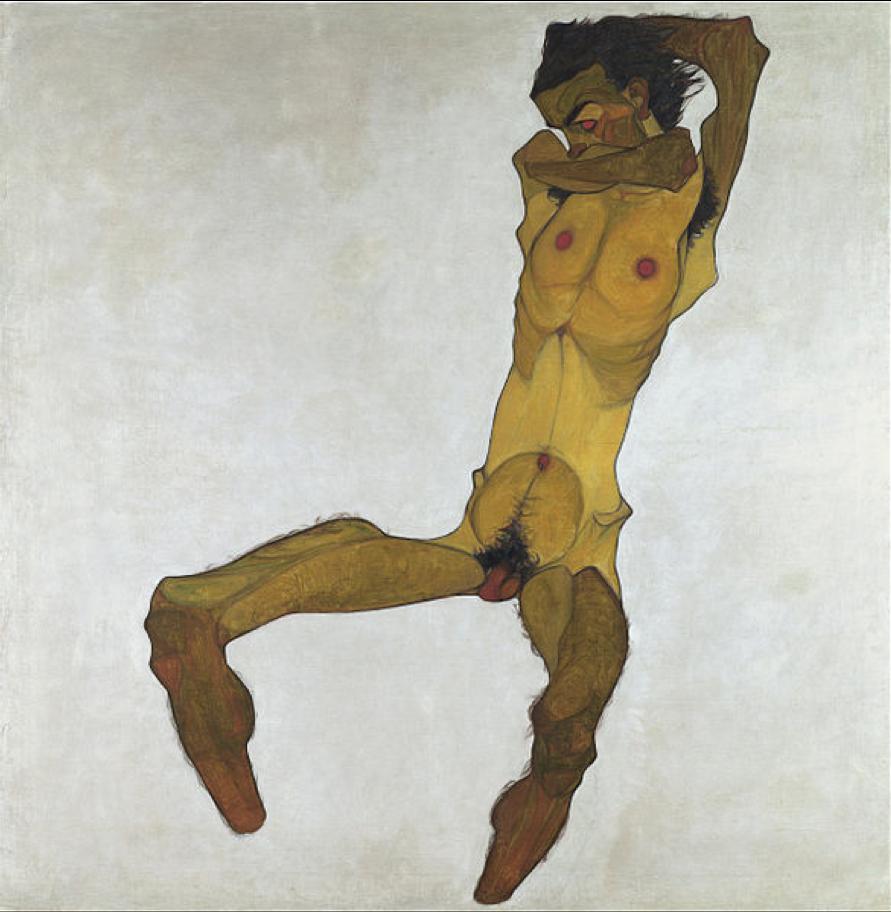 Egon Schiele, Seated Male Nude, Self-Portrait
